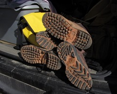 Our boots, showing the red dust from Zion's National Park