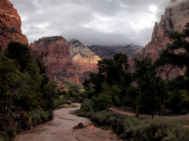 A view from a bridge near the Zion Park Lodge