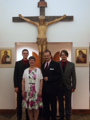 Evan, Cathy, Kevin and Ian at St. Pauls' college after the First Promises Mass, July 26, 2014.