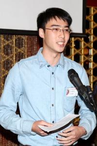 Asian man giving speech