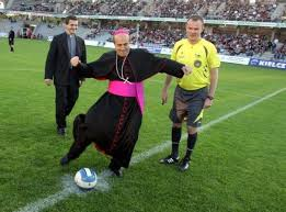 bishop playing soccer