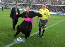 bishop playing soccer
