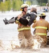 fireman helping in flood